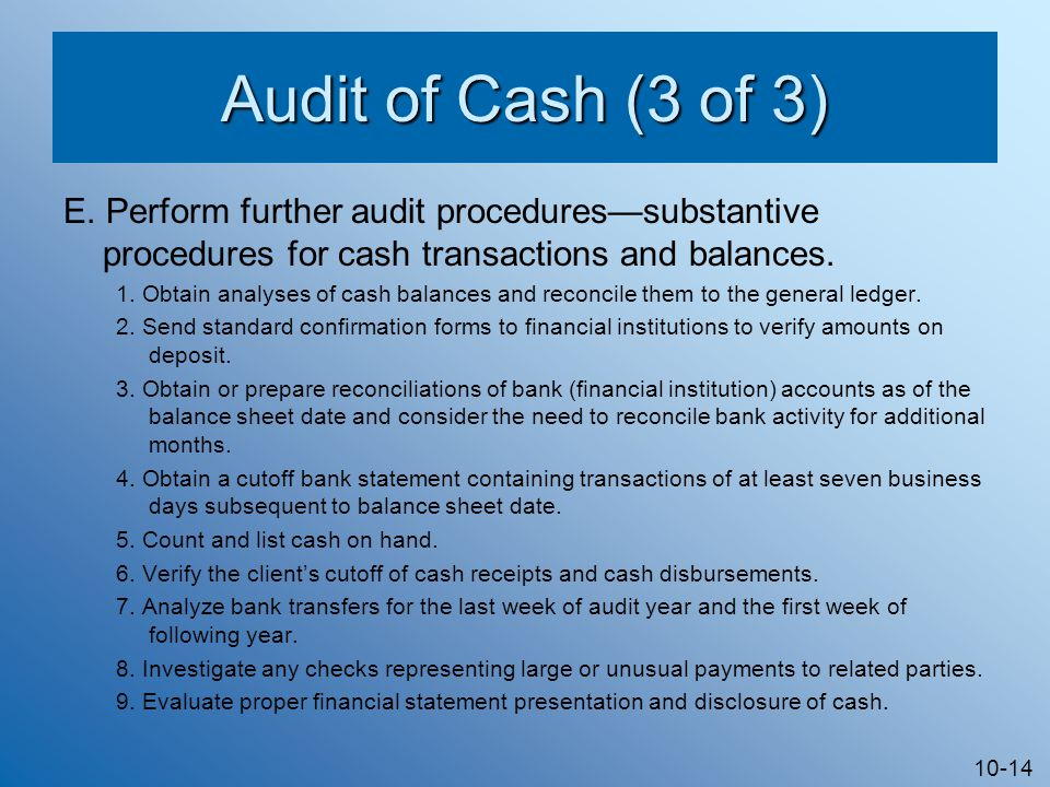 10-14 Audit of Cash (3 of 3) E.