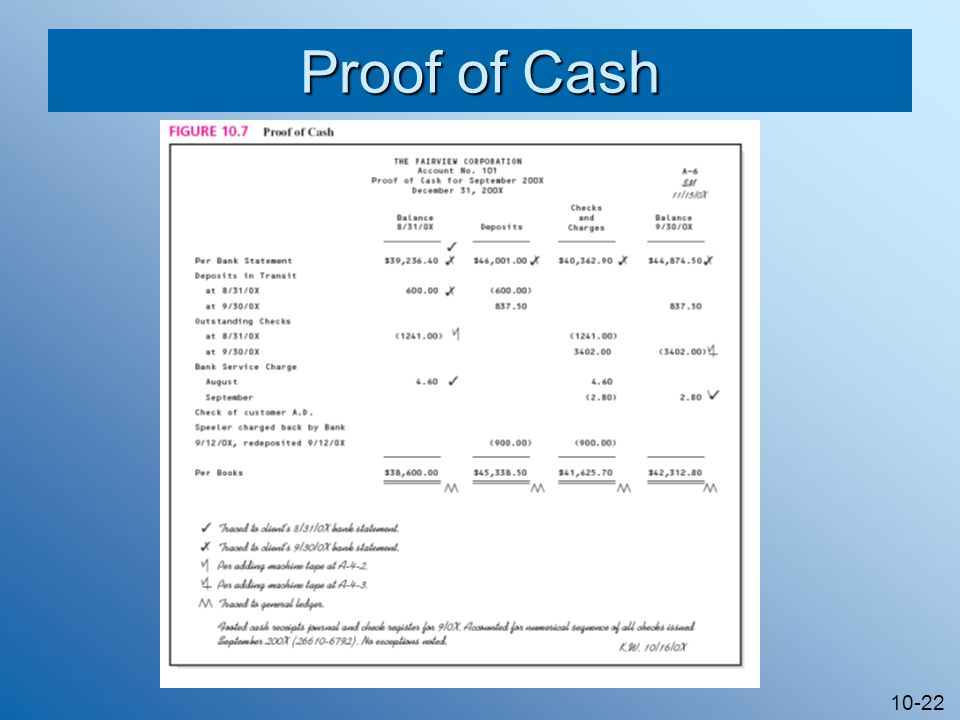 10-22 Proof of Cash