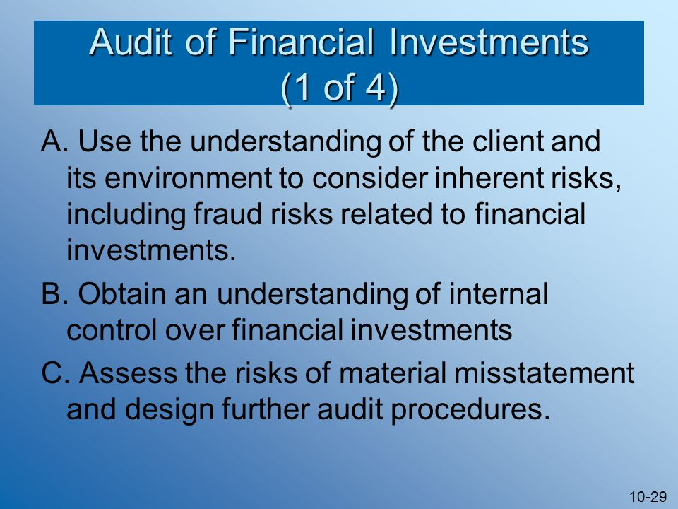10-29 Audit of Financial Investments (1 of 4) A.