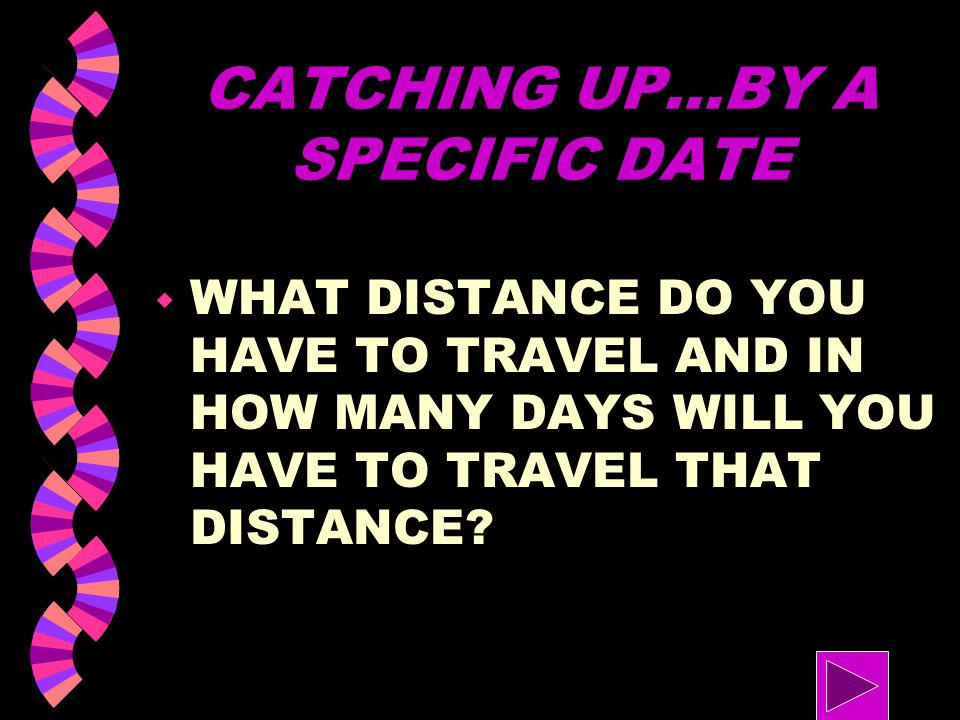 CATCHING UP...BY A SPECIFIC DATE w HOW MANY DAYS DO YOU HAVE TO CATCH UP? w HOW FAR WILL YOUR COUSIN'S FAMILY TRAVEL?