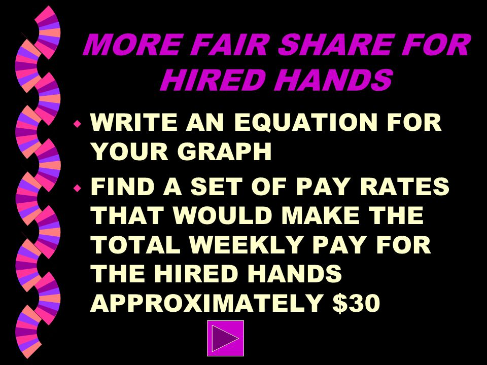 MORE FAIR SHARE ON CHORES w FIND A PAIR OF SHIFT LENGTHS THAT WOULD TOTAL TEN HOURS AND STILL HAVE THE SHIFT OF EACH BOY BE HALF AN HOUR LONGER THAN E