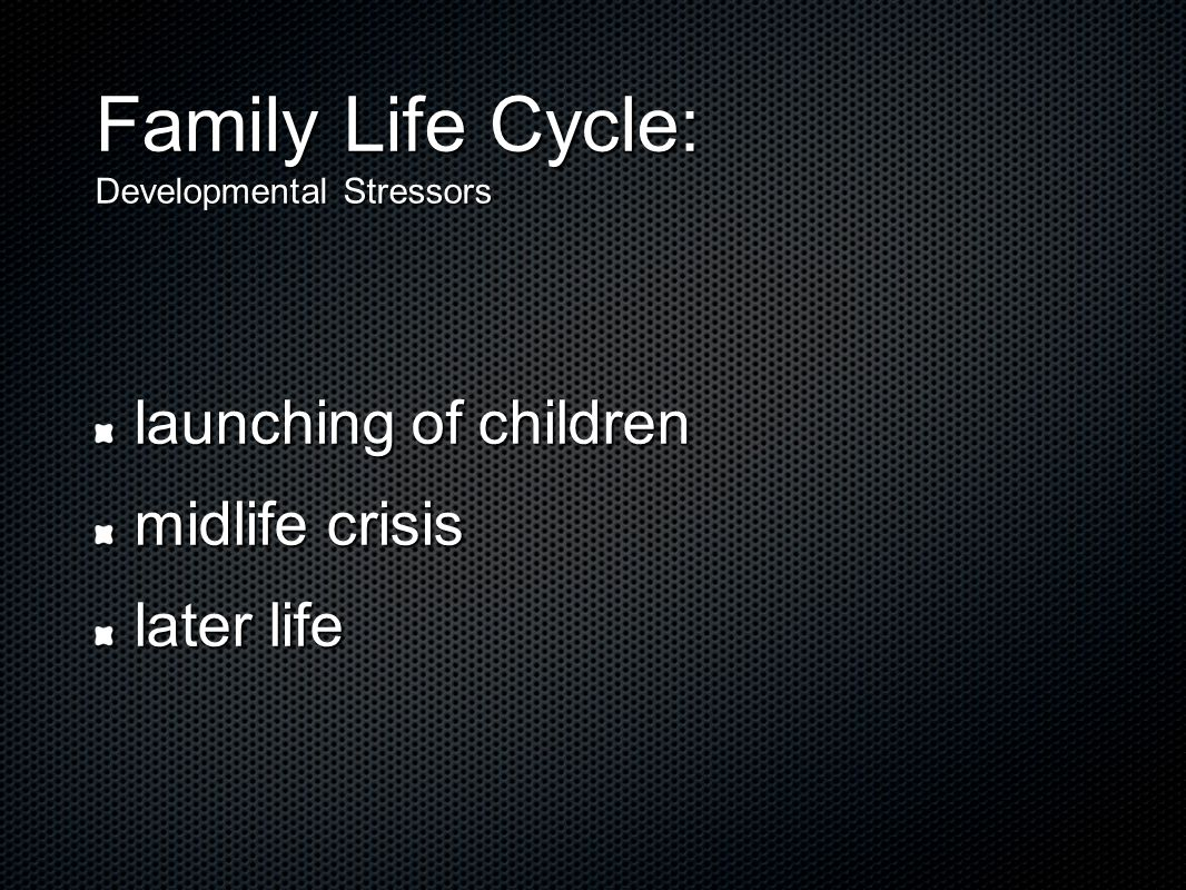 Family Life Cycle: Developmental Stressors launching of children midlife crisis later life