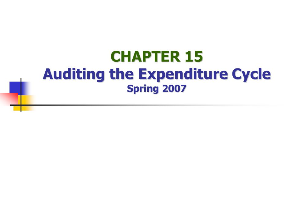 Expenditure Cycle: Understand (and maybe test) Internal Controls Control Environment Ethical Values Human Resource Practices Commitment to Competence (Hiring / Training) Background Checks Assignment of Authority and Responsibility Accountability Mgmt.