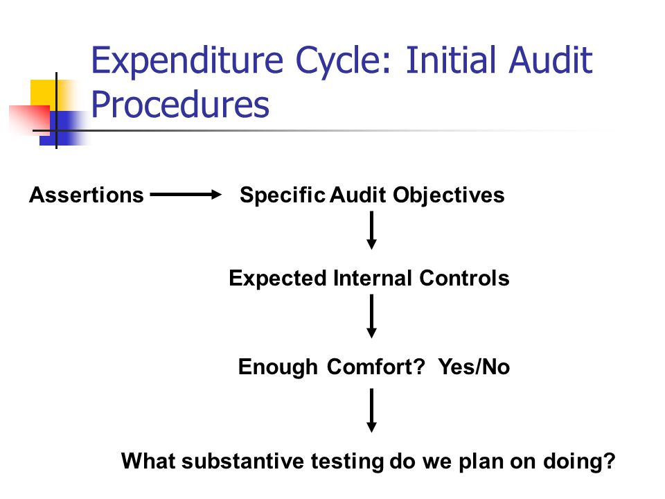 Expenditure Cycle: Initial Audit Procedures Assertions Expected Internal Controls Enough Comfort? Yes/No Specific Audit Objectives What substantive te