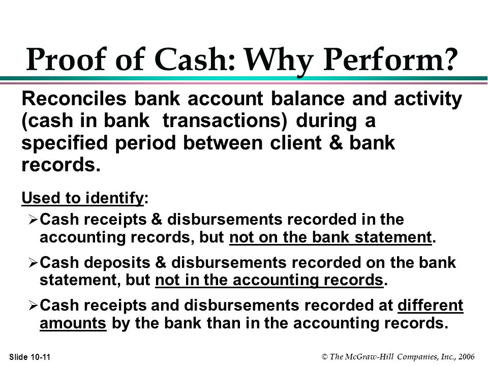 © The McGraw-Hill Companies, Inc., 2006 Slide Proof of Cash: Why Perform.