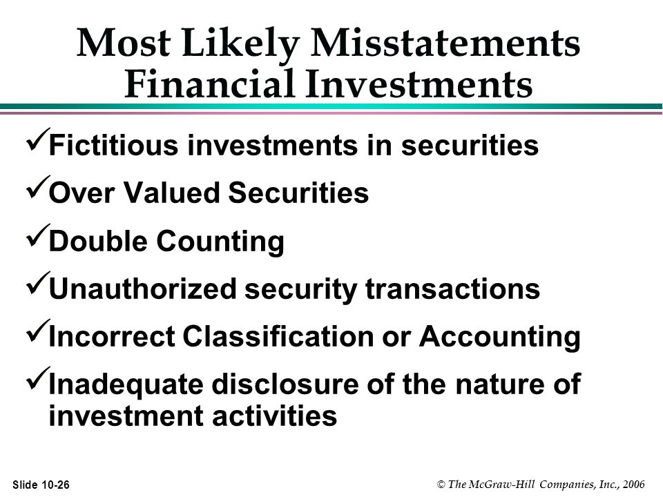 © The McGraw-Hill Companies, Inc., 2006 Slide Most Likely Misstatements Financial Investments Fictitious investments in securities Over Valued Securities Double Counting Unauthorized security transactions Incorrect Classification or Accounting Inadequate disclosure of the nature of investment activities