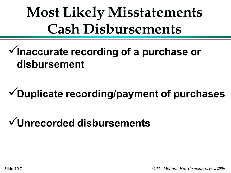 © The McGraw-Hill Companies, Inc., 2006 Slide 10-7 Most Likely Misstatements Cash Disbursements Inaccurate recording of a purchase or disbursement Duplicate recording/payment of purchases Unrecorded disbursements