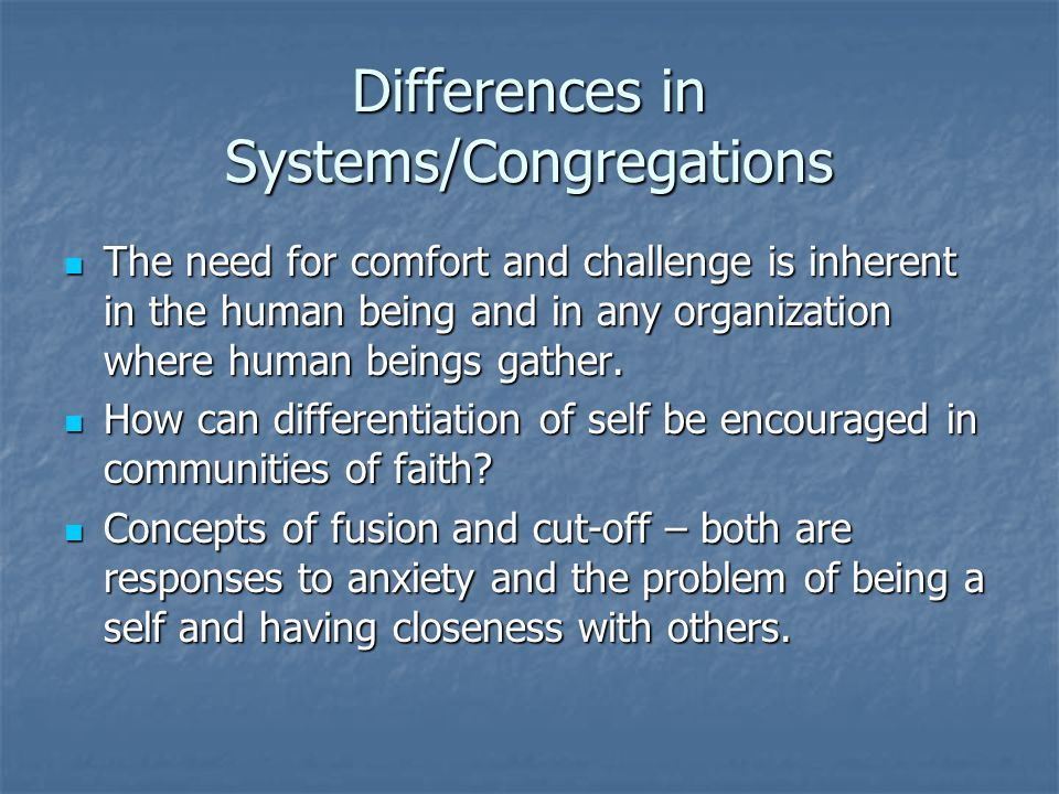 Differences in Systems/Congregations The need for comfort and challenge is inherent in the human being and in any organization where human beings gather.