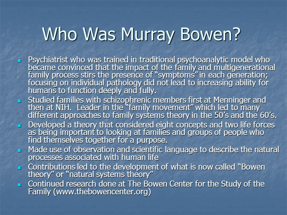 Who Was Murray Bowen.