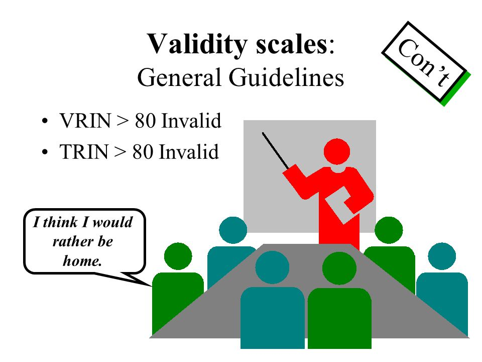 Validity scales: General Guidelines VRIN > 80 Invalid TRIN > 80 Invalid Con't I think I would rather be home.