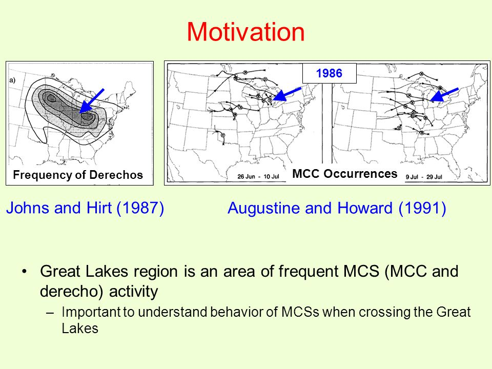Motivation Johns and Hirt (1987) Augustine and Howard (1991) Great Lakes region is an area of frequent MCS (MCC and derecho) activity –Important to understand behavior of MCSs when crossing the Great Lakes Frequency of Derechos MCC Occurrences 1986