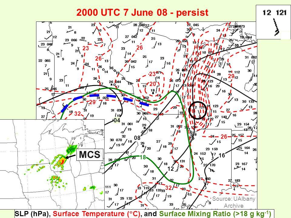 2000 UTC 7 June 08 - persist 23 26 23 20 29 32 29 26 32 04 08 12 16 18 SLP (hPa), Surface Temperature (  C), and Surface Mixing Ratio (>18 g kg -1 ) Source: UAlbany Archive MCS