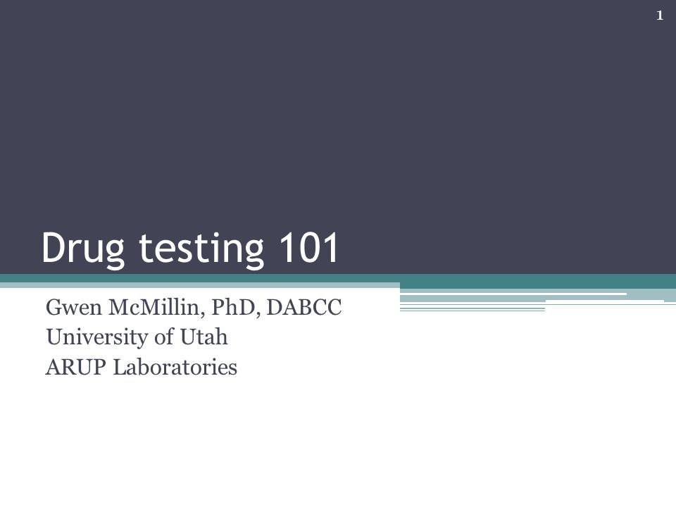 Why test for drugs.
