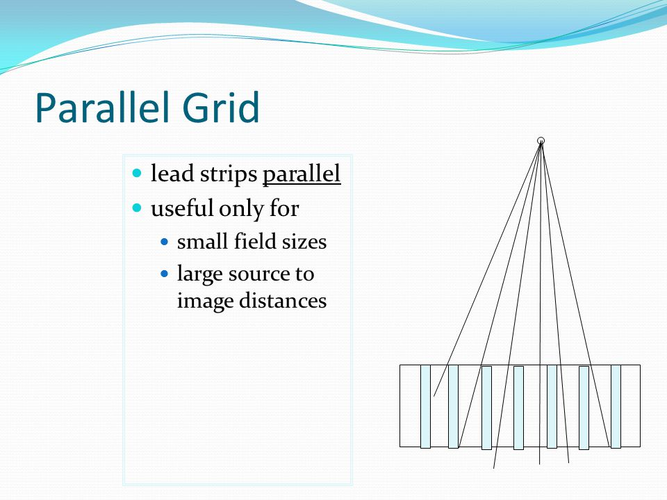 Parallel Grid lead strips parallel useful only for small field sizes large source to image distances