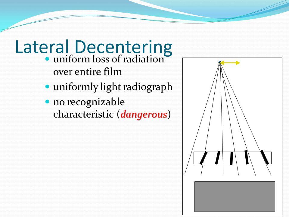 Lateral Decentering uniform loss of radiation over entire film uniformly light radiograph dangerous no recognizable characteristic (dangerous)