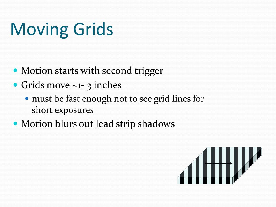 Moving Grids Motion starts with second trigger Grids move ~1- 3 inches must be fast enough not to see grid lines for short exposures Motion blurs out