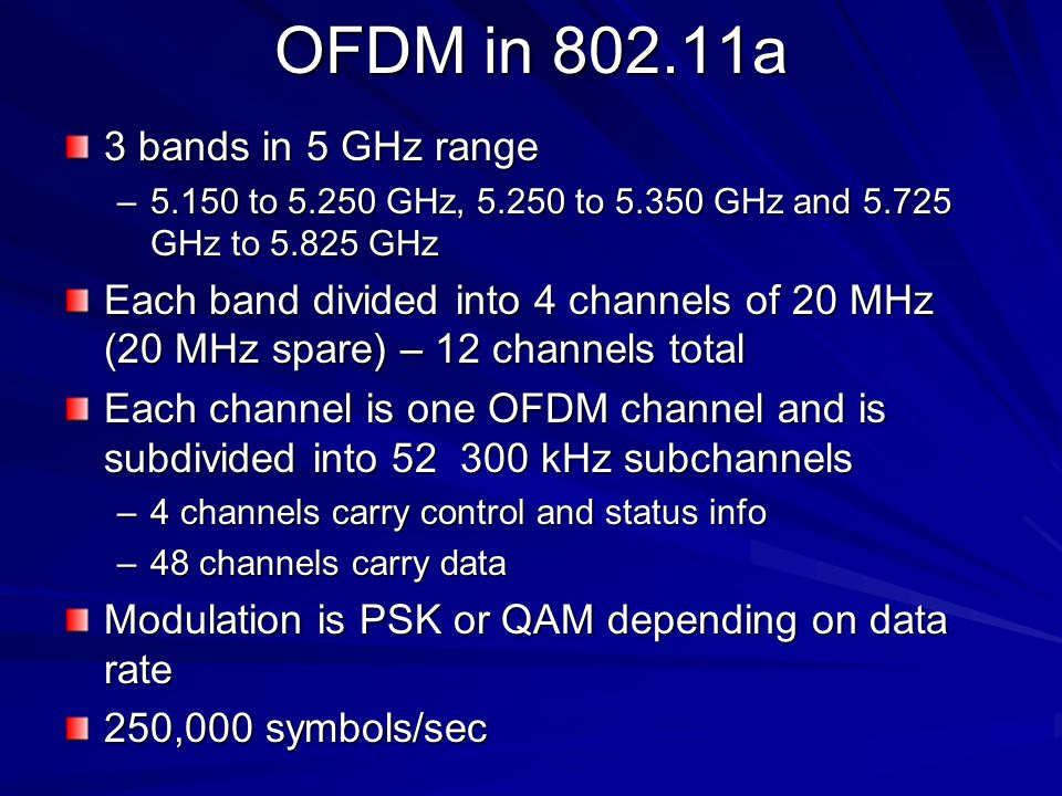 OFDM in a 3 bands in 5 GHz range –5.150 to GHz, to GHz and GHz to GHz Each band divided into 4 channels of 20 MHz (20 MHz spare) – 12 channels total Each channel is one OFDM channel and is subdivided into kHz subchannels –4 channels carry control and status info –48 channels carry data Modulation is PSK or QAM depending on data rate 250,000 symbols/sec