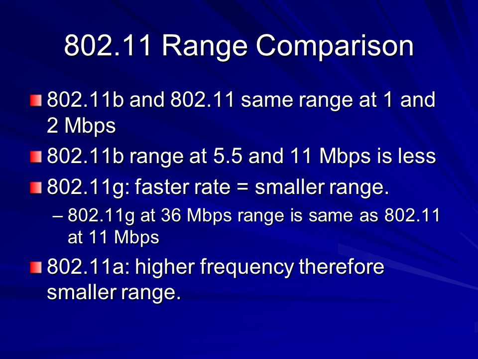 Range Comparison b and same range at 1 and 2 Mbps b range at 5.5 and 11 Mbps is less g: faster rate = smaller range.