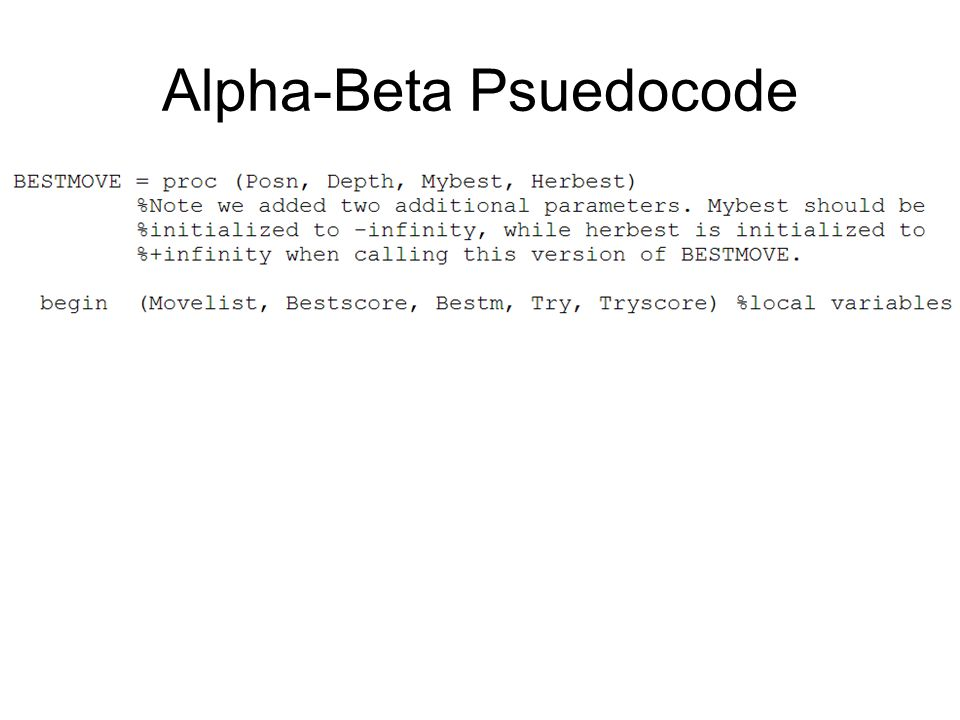 Alpha-Beta Psuedocode