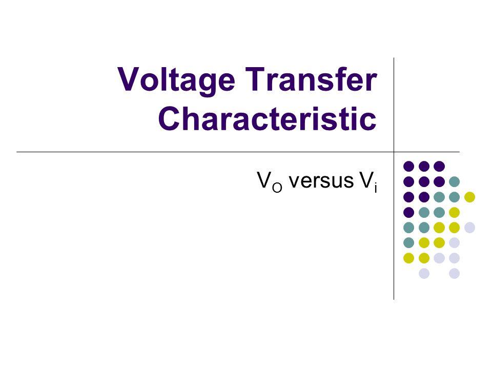 Voltage Transfer Characteristic V O versus V i