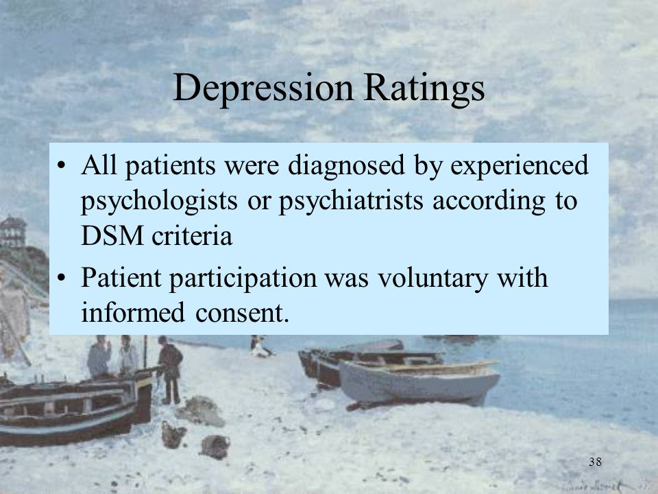 38 Depression Ratings All patients were diagnosed by experienced psychologists or psychiatrists according to DSM criteria Patient participation was vo