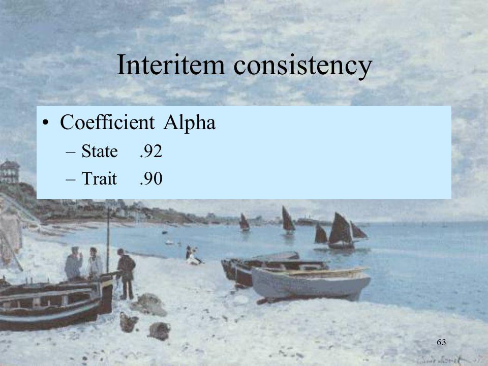 63 Interitem consistency Coefficient Alpha –State.92 –Trait.90