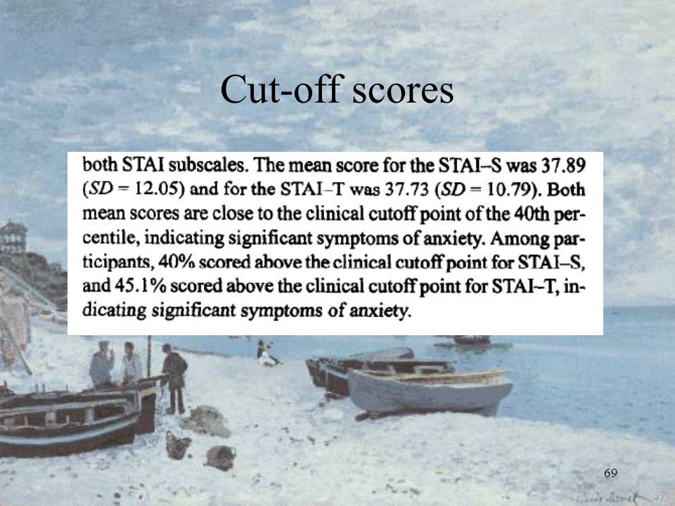 69 Cut-off scores