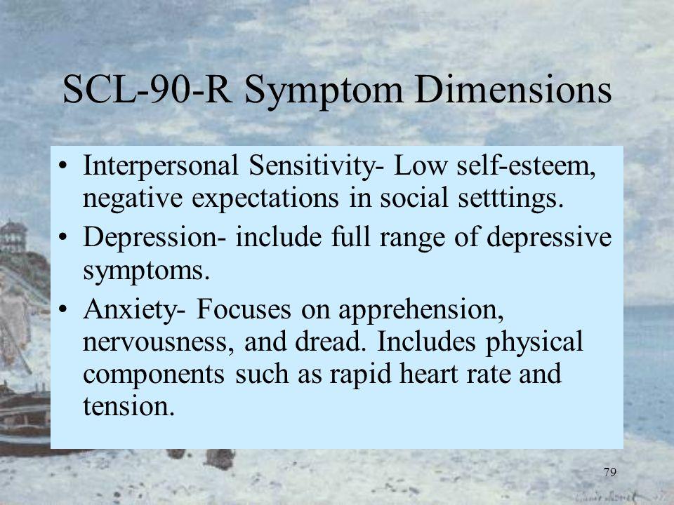 79 SCL-90-R Symptom Dimensions Interpersonal Sensitivity- Low self-esteem, negative expectations in social setttings. Depression- include full range o