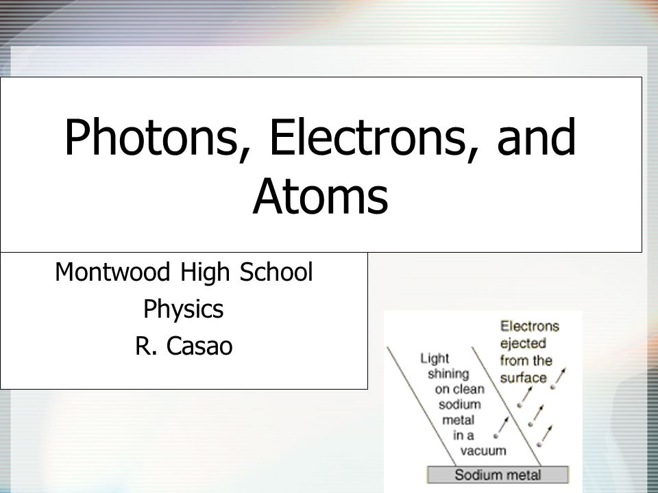 Photons, Electrons, and Atoms Montwood High School Physics R. Casao