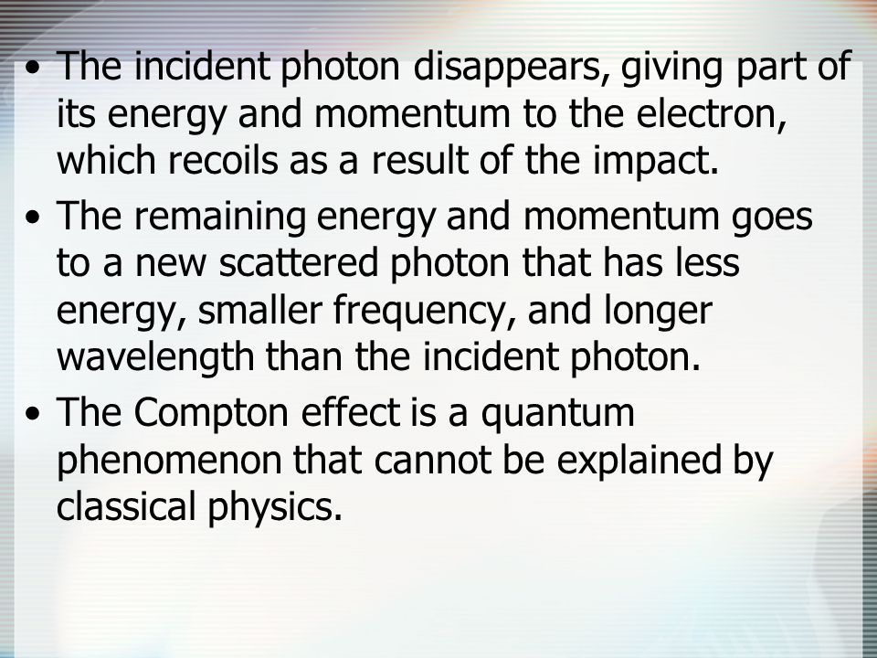 The incident photon disappears, giving part of its energy and momentum to the electron, which recoils as a result of the impact.