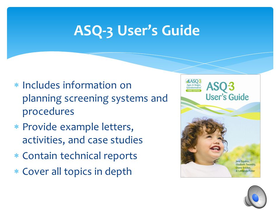  Includes information on planning screening systems and procedures  Provide example letters, activities, and case studies  Contain technical report