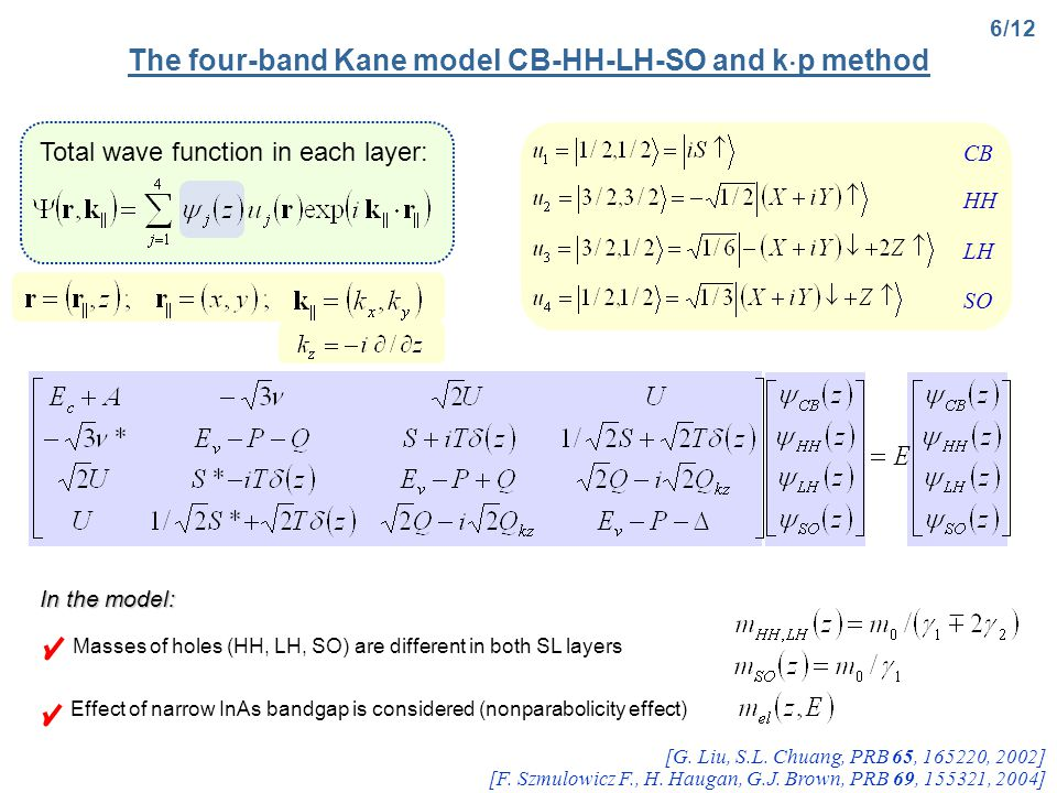 The four-band Kane model CB-HH-LH-SO and k  p method 6/12 [G.