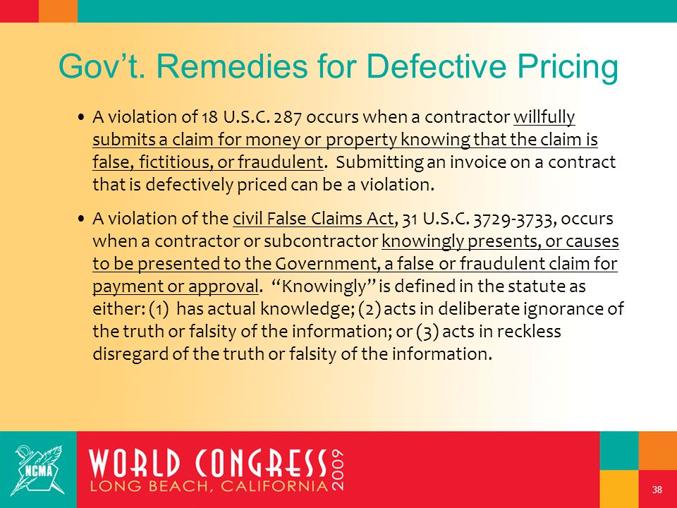 38 Gov't.Remedies for Defective Pricing A violation of 18 U.S.C.