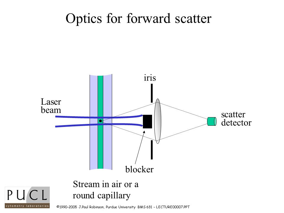 ©1990-2005 J.Paul Robinson, Purdue University BMS 631 – LECTURE00007.PPT Optics for forward scatter scatter detector iris blocker Laser beam Stream in air or a round capillary
