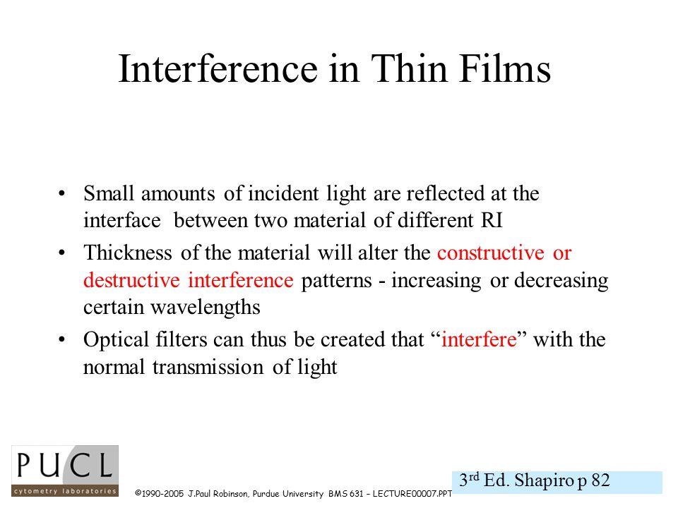 ©1990-2005 J.Paul Robinson, Purdue University BMS 631 – LECTURE00007.PPT Optical filter evaluation optical filter (90 o ) slit/shutter light source detector monochromator SPECTROFLUOROMETER FOR ASSESSMENT OF OPTICAL FILTER TRANSMISSION OF OPTICAL FILTER TRANSMISSION