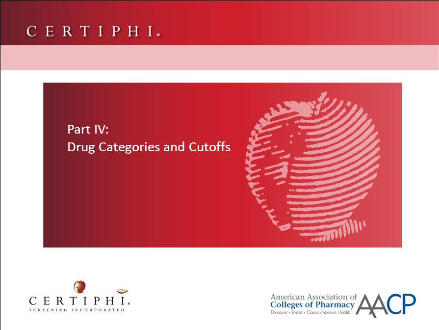 Part IV: Drug Categories and Cutoffs