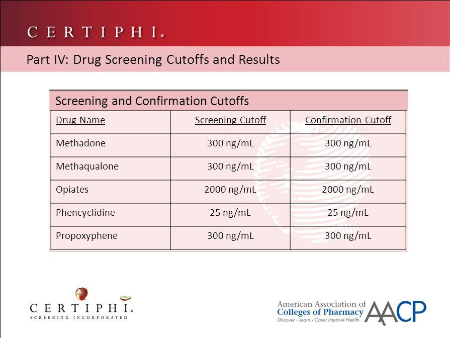Screening and Confirmation Cutoffs Part IV: Drug Screening Cutoffs and Results Drug NameScreening CutoffConfirmation Cutoff Methadone300 ng/mL Methaqualone300 ng/mL Opiates2000 ng/mL Phencyclidine25 ng/mL Propoxyphene300 ng/mL