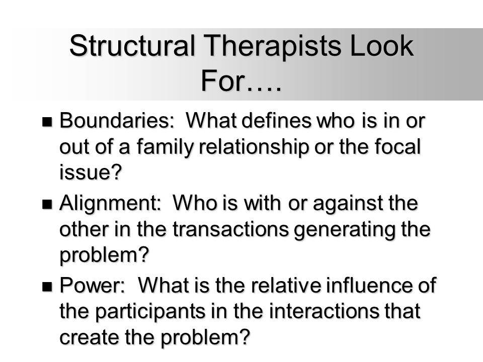 Structural Therapists Look For…. Boundaries: What defines who is in or out of a family relationship or the focal issue? Boundaries: What defines who i
