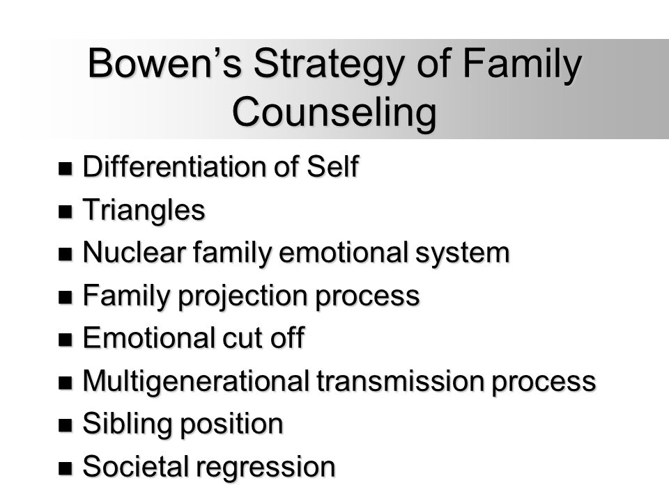 Bowen's Strategy of Family Counseling Differentiation of Self Differentiation of Self Triangles Triangles Nuclear family emotional system Nuclear fami