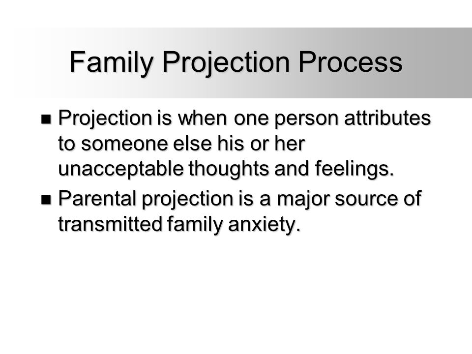 Family Projection Process Projection is when one person attributes to someone else his or her unacceptable thoughts and feelings. Projection is when o