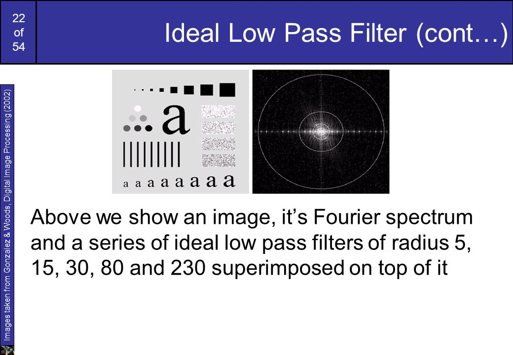 22 of 54 Ideal Low Pass Filter (cont…) Above we show an image, it's Fourier spectrum and a series of ideal low pass filters of radius 5, 15, 30, 80 and 230 superimposed on top of it Images taken from Gonzalez & Woods, Digital Image Processing (2002)