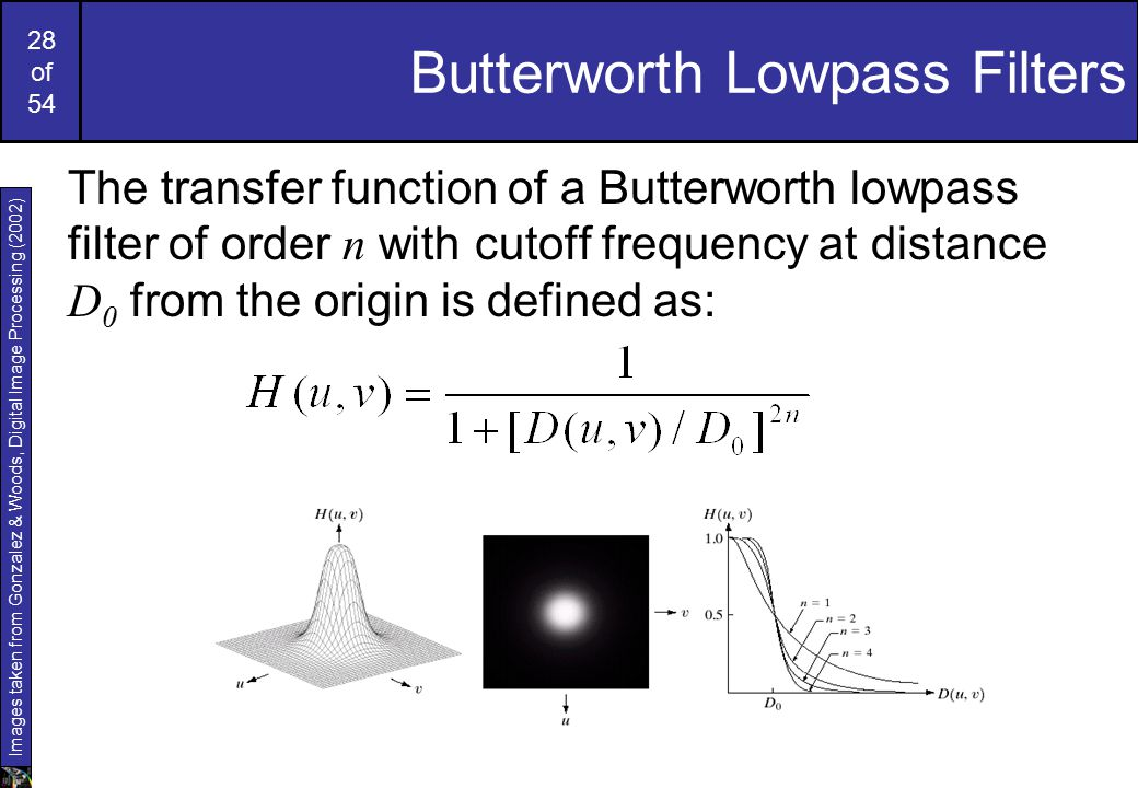 28 of 54 Butterworth Lowpass Filters The transfer function of a Butterworth lowpass filter of order n with cutoff frequency at distance D 0 from the o