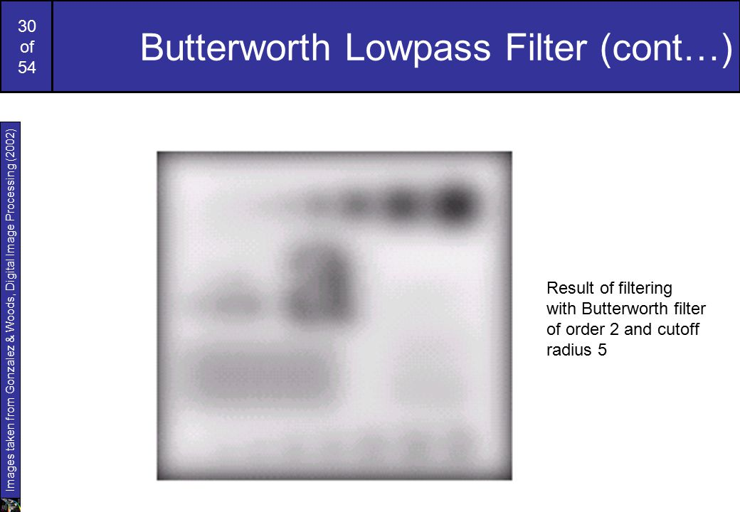 30 of 54 Butterworth Lowpass Filter (cont…) Images taken from Gonzalez & Woods, Digital Image Processing (2002) Original image Result of filtering with Butterworth filter of order 2 and cutoff radius 5