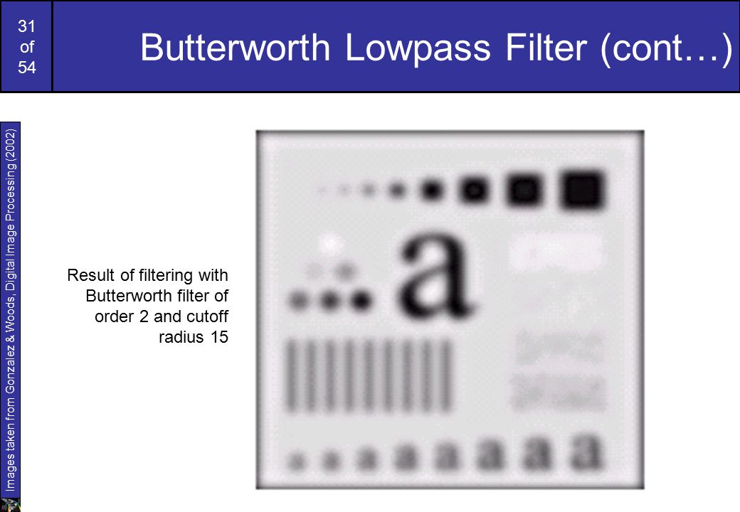 31 of 54 Butterworth Lowpass Filter (cont…) Images taken from Gonzalez & Woods, Digital Image Processing (2002) Result of filtering with Butterworth filter of order 2 and cutoff radius 15
