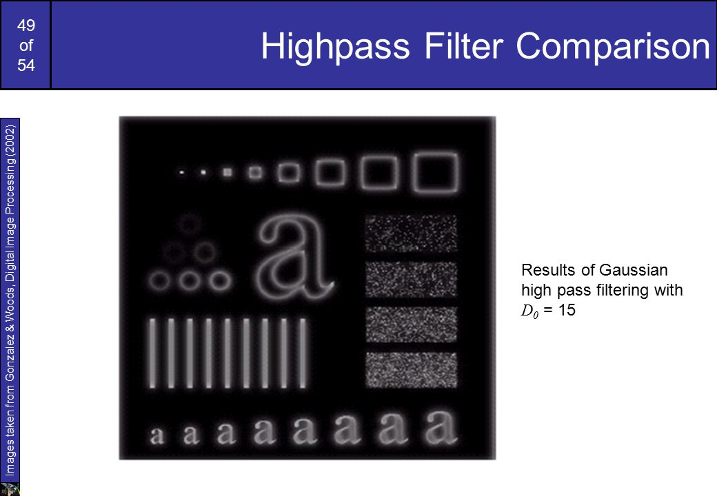 49 of 54 Highpass Filter Comparison Results of Gaussian high pass filtering with D 0 = 15 Images taken from Gonzalez & Woods, Digital Image Processing (2002)