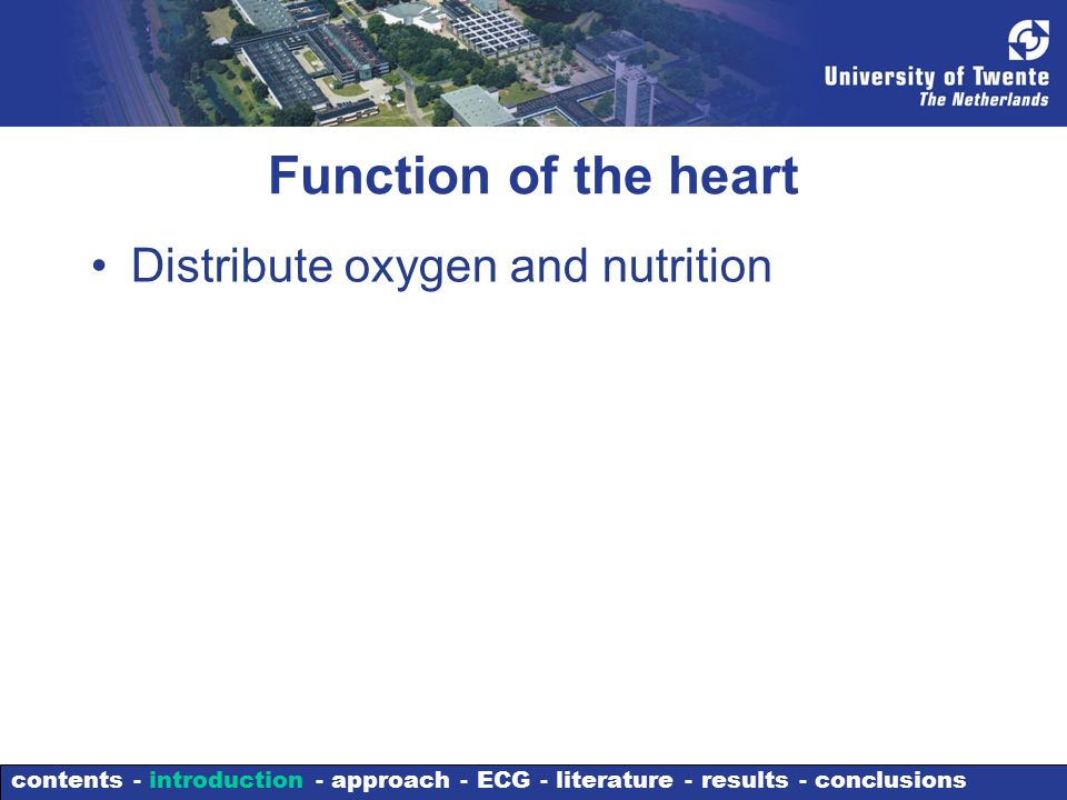 Function of the heart Distribute oxygen and nutrition contents - introduction - approach - ECG - literature - results - conclusions