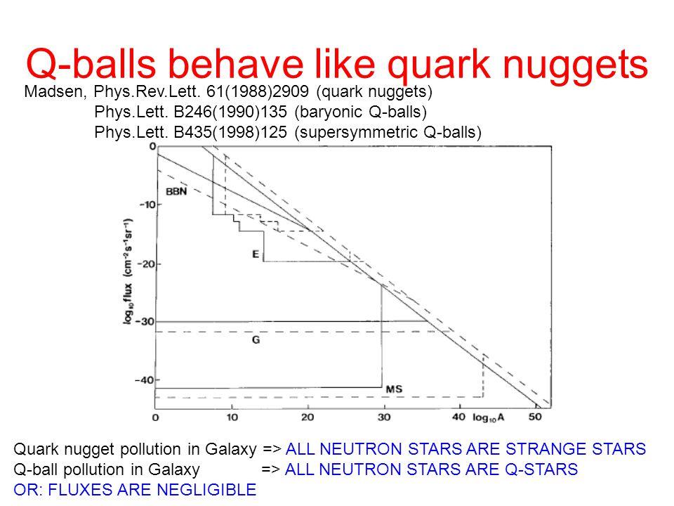 Q-balls behave like quark nuggets Madsen, Phys.Rev.Lett. 61(1988)2909 (quark nuggets) Phys.Lett. B246(1990)135 (baryonic Q-balls) Phys.Lett. B435(1998