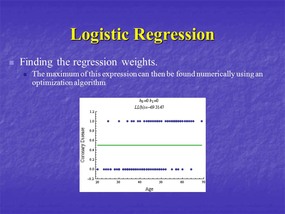 Logistic Regression Finding the regression weights. The maximum of this expression can then be found numerically using an optimization algorithm
