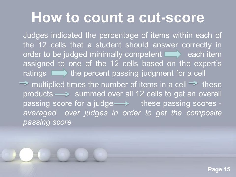 Powerpoint Templates Page 15 How to count a cut-score Judges indicated the percentage of items within each of the 12 cells that a student should answe