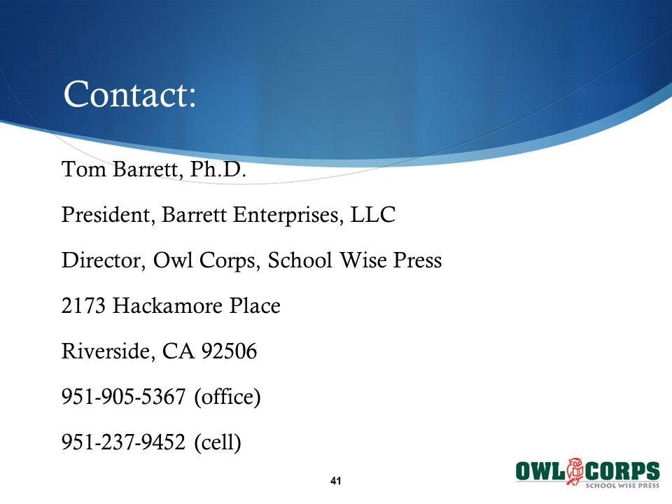 Contact: Tom Barrett, Ph.D.